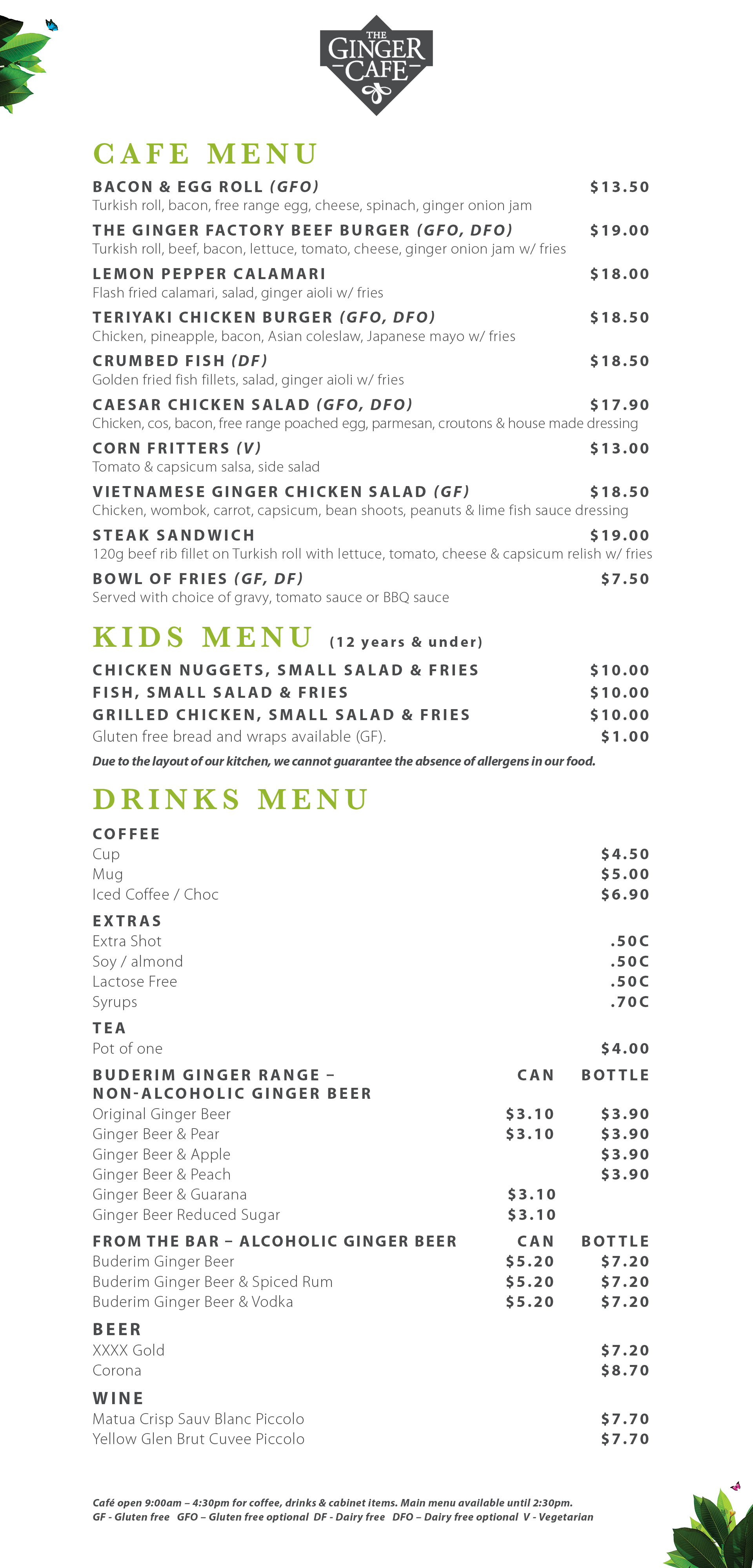 Ginger Cafe Web Menu